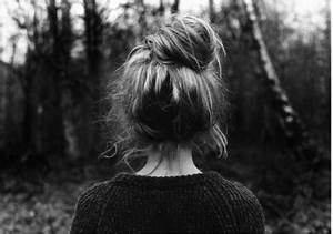 back, black and white, bun, cute, dreaming - image #123187 ...