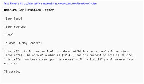 account confirmation letter