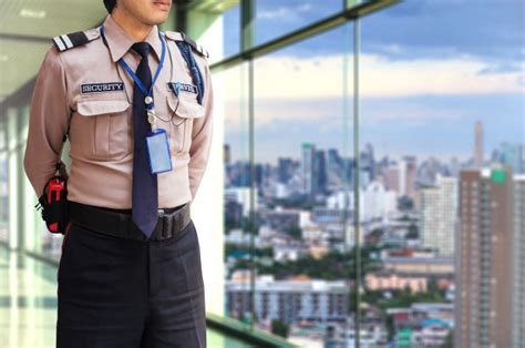 Security Guard Profile Sle by Security Guard On Modern Office Building Photo Premium