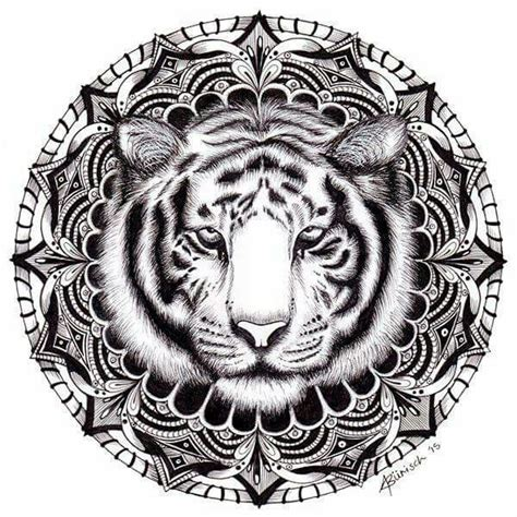 adult coloring tiger minikiki on silhoutte free svg files mandala tattoo