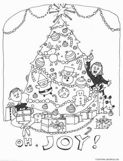 Coloring Christmas Tree Pages Printable Merry Lou