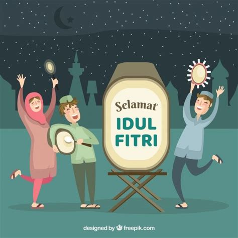 idul fitri background  people celebrating     vector