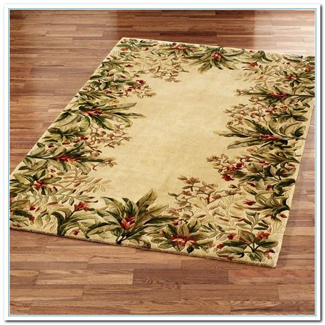 tropical area rugs light brown square floral borders wool