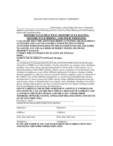 motorcycle liability release form emergency contact form