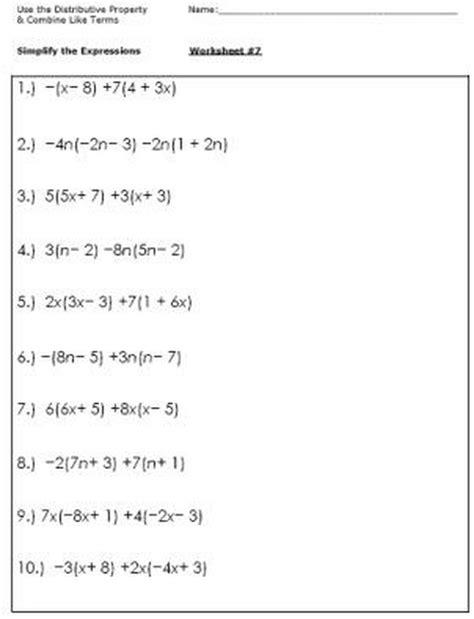 simplifying algebraic expressions worksheet newatvs info