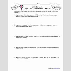 Gas Laws Worksheets  Set Of 6! Answers Include By Msrazz Chemclass