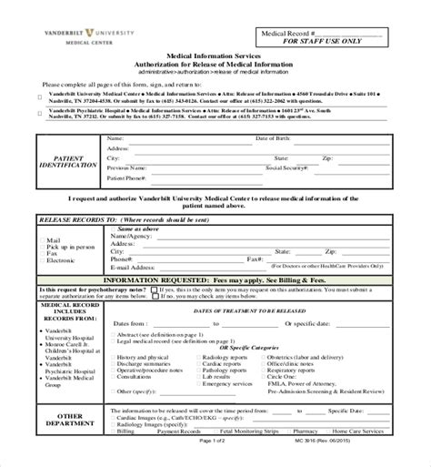 medical records release form template medical records release form california template