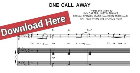 free score puth one call away sheet piano notes chords