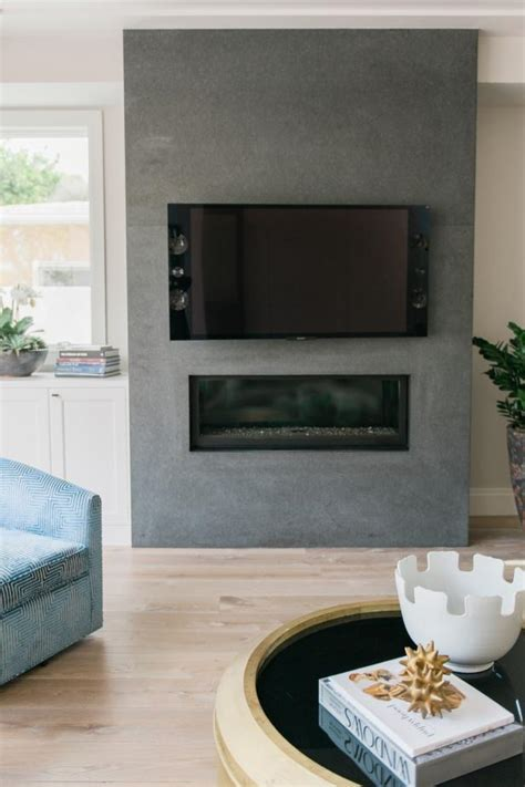 gray accent wall  tv  fireplace hgtv
