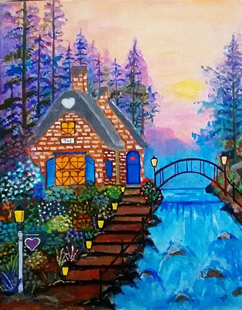 The Cottage Painting by Cottage Acrylic Painting On Canvas Scenery And