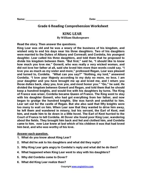 year 6 reading comprehension worksheets excel template