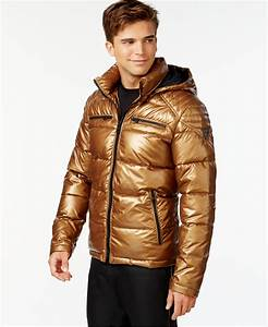 Guess Hooded Puffer Jacket in Metallic for Men | Lyst