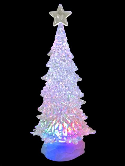 large clear led illuminated tree snow globe ornament
