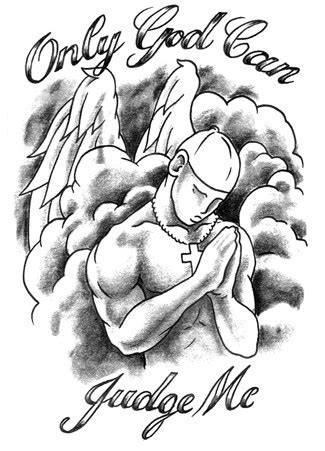 Only God Can Judge Me – Praying Male Angel Tattoo Design