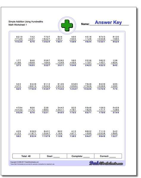 addition  decimals worksheets  images addition