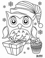 Coloring Christmas Pages Owl Merry Reindeer Sleigh sketch template