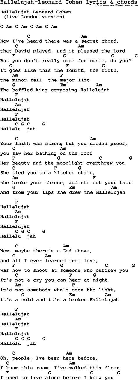 love song lyrics for hallelujah leonard cohen with chords for ukulele guitar banjo etc