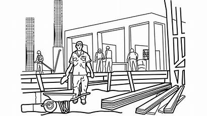 Construction Drawing Building Line Worker Working Animation