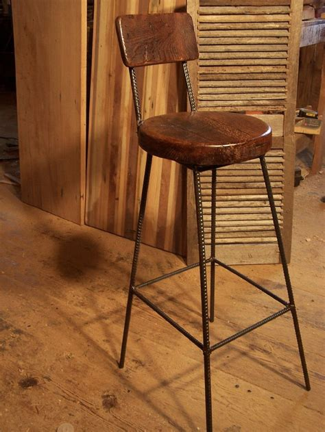 Metal Breakfast Bar Stools by Reclaimed Oak Bar Stools With Metal Legs And Back Rest