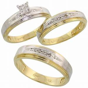 buy 10k yellow gold diamond trio engagement wedding ring With gold wedding rings for him and her