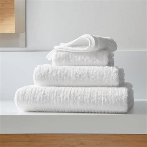 ribbed white bath towels crate  barrel