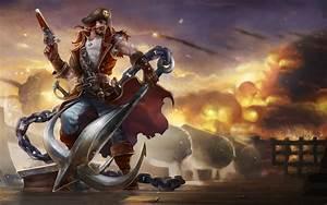 League Of Legends Gangplank Men Pirates Anchor Weapon Ship