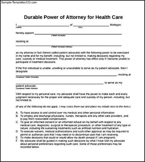 durable power of attorney form for california printable durable power of attorney form