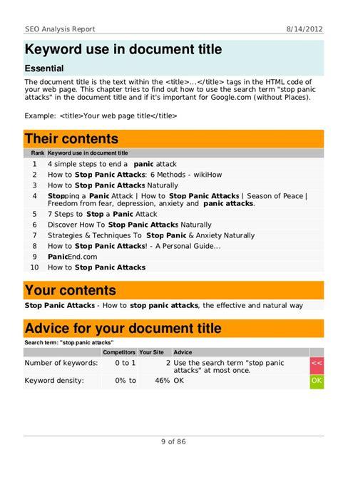 Seo Analysis by Seo Analysis Sle Report