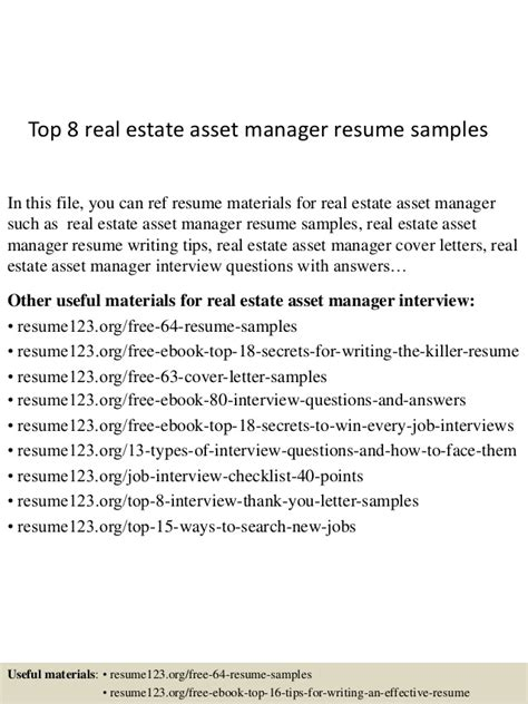 top 8 real estate asset manager resume sles