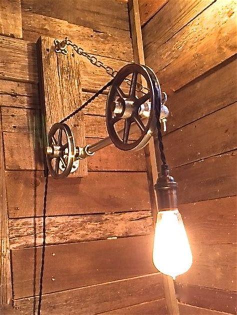 pulley light reclaimed wood edison bulb light steunk