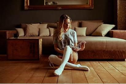 Socks Legs Hair Blonde Stockings Reading Shorts