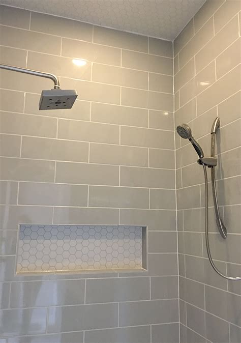 grey tile shower linear light gray shower wall tile with hexagon mosaic