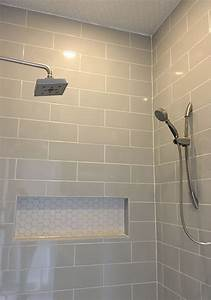 linear light gray shower wall tile with hexagon mosaic With how to tile a bathroom floor and walls