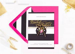Pink black and gold bridal shower invitations pack of for Black and gold wedding shower invitations