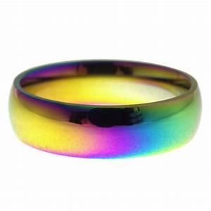 unisex 6mm rainbow casual ring or wedding band With rainbow wedding rings