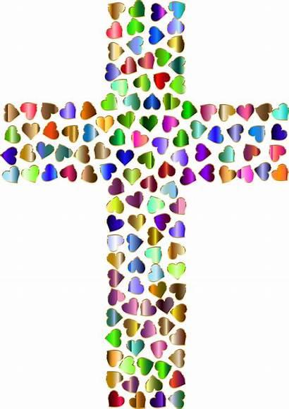 Cross Clipart Background Hearts Rainbow Transparent Printable
