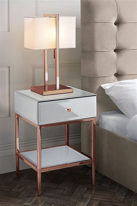 rose gold bedside table stiletto toughened white glass and rose gold side table