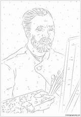 Portrait Van Self Gogh Pages Sheet Coloring Template Printable Coloringpagesonly sketch template