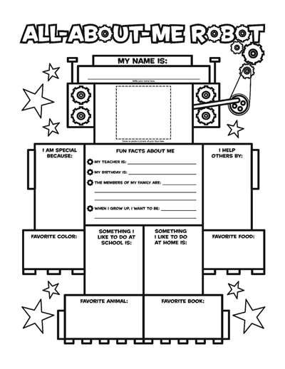 all about me robot fill in poster worksheets