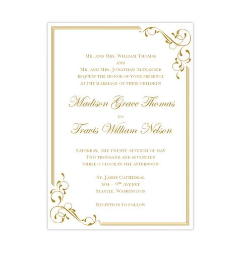 elegance wedding invitation gold wedding template shop