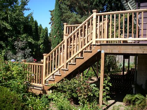 deck railing pictures stairs timbertech walnut deck with cedar railing stairs from side