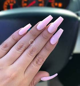 coffin nails in a baby pink gel color with images