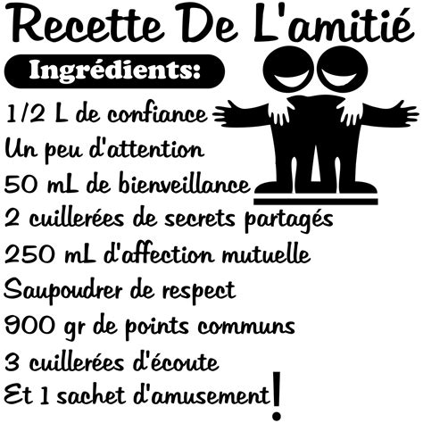 stickers pour porte de chambre sticker citation recette de l 39 amitié stickers citations