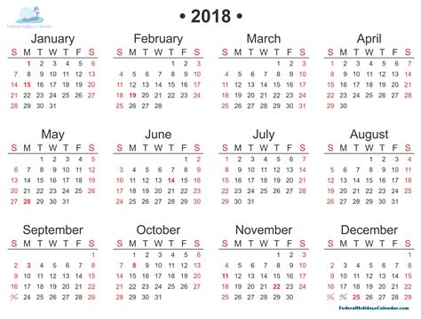 2018 Calendar Printable Template With Holidays Usa Uk Canada