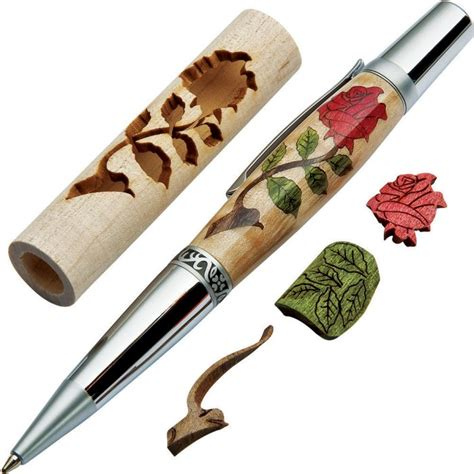 woodturners red rose laser cut inlay  kit blank