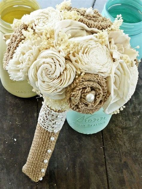 custom wedding bouquet burlap flowers  beach wedding