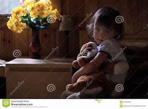 Sad Little Girl Hugging Teddy Bear Stock Photo - Image ...