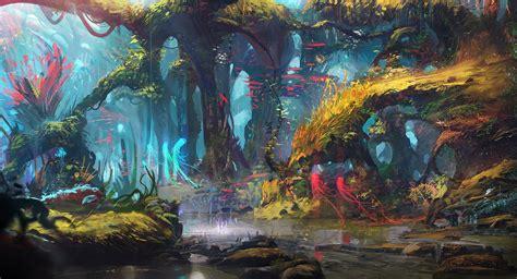 drawing digital art forest lake trees fantasy art