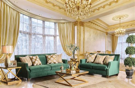 Green Living Room Sets : Verdante Emerald Green Living Room Set From Furniture Of