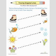 Tracing Diagonal Lines Match The Opposites  Worksheet Educationcom